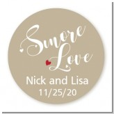 Smore Love - Round Personalized Bridal Shower Sticker Labels