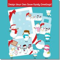 Snowman Family with Snowflakes