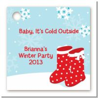 Snow Boots - Personalized Christmas Card Stock Favor Tags