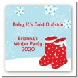 Snow Boots - Square Personalized Christmas Sticker Labels thumbnail
