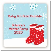 Snow Boots - Square Personalized Christmas Sticker Labels