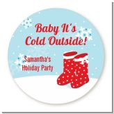 Snow Boots - Round Personalized Christmas Sticker Labels