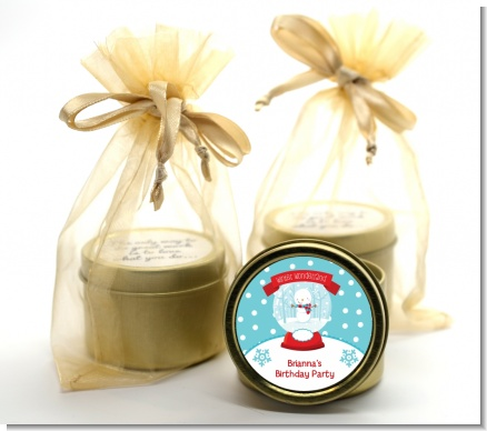 Snow Globe Winter Wonderland - Birthday Party Gold Tin Candle Favors