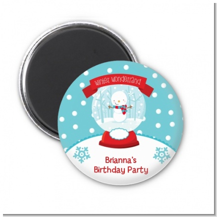 Snow Globe Winter Wonderland - Personalized Birthday Party Magnet Favors
