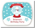 Snow Globe Winter Wonderland - Personalized Birthday Party Rounded Corner Stickers thumbnail