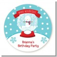 Snow Globe Winter Wonderland - Round Personalized Birthday Party Sticker Labels thumbnail