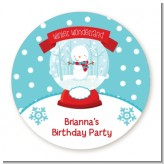 Snow Globe Winter Wonderland - Round Personalized Birthday Party Sticker Labels