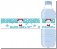 Snow Globe Winter Wonderland - Personalized Birthday Party Water Bottle Labels