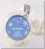 Snowflakes - Personalized Birthday Party Candy Jar