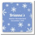 Snowflakes - Square Personalized Birthday Party Sticker Labels thumbnail