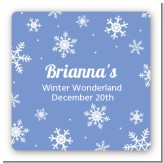Snowflakes - Square Personalized Birthday Party Sticker Labels