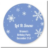 Snowflakes - Round Personalized Birthday Party Sticker Labels