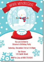 Snow Globe Winter Wonderland - Birthday Party Invitations