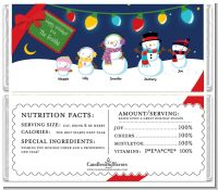 Snowman Family with Lights - Personalized Christmas Candy Bar Wrappers