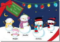 Snowman Family with Lights - Christmas Invitations