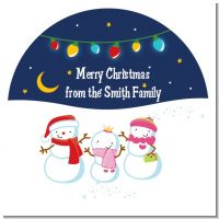 Snowman Family with Lights - Round Personalized Christmas Sticker Labels