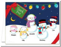 Snowman Family with Lights - Christmas Thank You Cards
