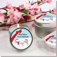 Snowman Family with Snowflakes - Christmas Candle Favors