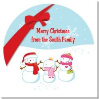 Snowman Family with Snowflakes - Round Personalized Christmas Sticker Labels