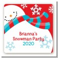 Snowman Fun - Square Personalized Christmas Sticker Labels thumbnail