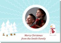 Snowman Snow Scene - Personalized Photo Christmas Cards
