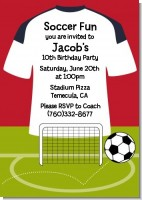 Soccer Jersey White, Red and Black - Birthday Party Invitations