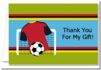 Soccer Jersey White, Red and Black - Birthday Party Thank You Cards