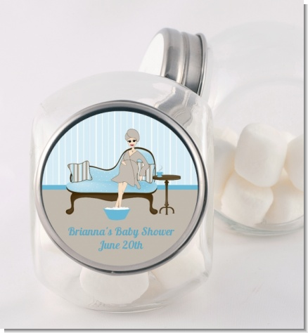 Spa Mom Blue - Personalized Baby Shower Candy Jar