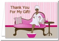 Spa Mom Pink African American - Baby Shower Thank You Cards