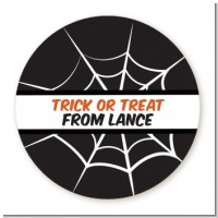 Spiders Web - Round Personalized Halloween Sticker Labels