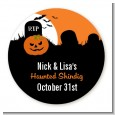 Spooky Pumpkin - Round Personalized Halloween Sticker Labels thumbnail