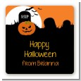 Spooky Pumpkin - Square Personalized Halloween Sticker Labels thumbnail