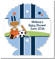 Sports Baby African American - Personalized Baby Shower Centerpiece Stand