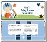 Sports Baby Caucasian - Personalized Baby Shower Candy Bar Wrappers