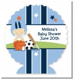 Sports Baby Caucasian - Personalized Baby Shower Centerpiece Stand