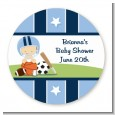 Sports Baby Caucasian - Round Personalized Baby Shower Sticker Labels thumbnail