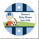 Sports Baby Caucasian - Round Personalized Baby Shower Sticker Labels