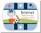 Sports Baby Caucasian - Personalized Baby Shower Rounded Corner Stickers