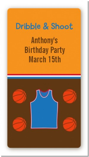 Basketball - Custom Rectangle Birthday Party Sticker/Labels