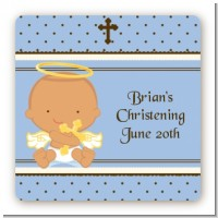Angel Baby Boy Hispanic - Square Personalized Baptism / Christening Sticker Labels