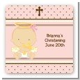 Angel Baby Girl Caucasian - Square Personalized Baptism / Christening Sticker Labels thumbnail
