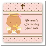 Angel Baby Girl Hispanic - Square Personalized Baptism / Christening Sticker Labels
