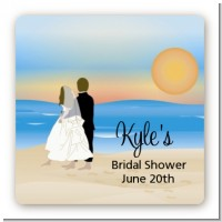 Beach Couple - Square Personalized Bridal Shower Sticker Labels