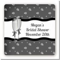 Champagne Glasses - Square Personalized Bridal Shower Sticker Labels