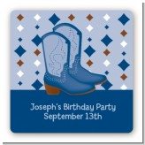 Cowboy Western - Square Personalized Birthday Party Sticker Labels