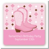 Cowgirl Western - Square Personalized Birthday Party Sticker Labels