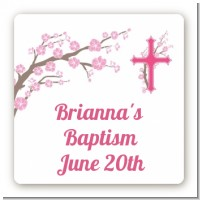 Cross Cherry Blossom - Square Personalized Baptism / Christening Sticker Labels