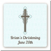 Cross Blue & Brown - Square Personalized Baptism / Christening Sticker Labels