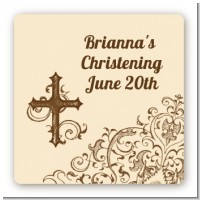 Cross Brown & Beige - Square Personalized Baptism / Christening Sticker Labels