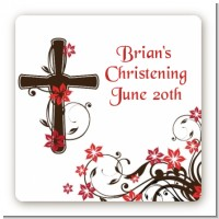 Cross Floral Blossom - Square Personalized Baptism / Christening Sticker Labels